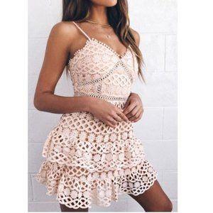 🆕 Lulu's Lace Pale Blush Crochet Lace Mini Dress
